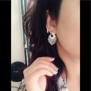 India Boutique Jewelry - Silver metal with whitestones Earrings